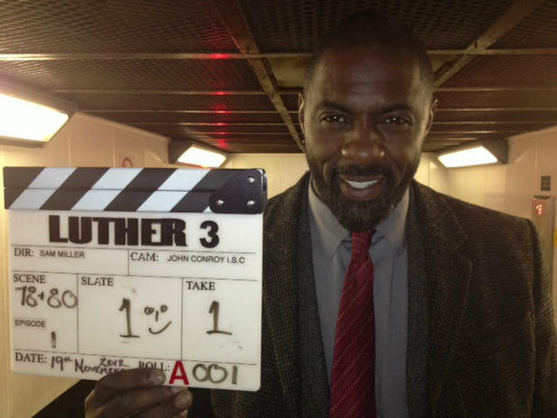Idris Elba on the set of Luther 3