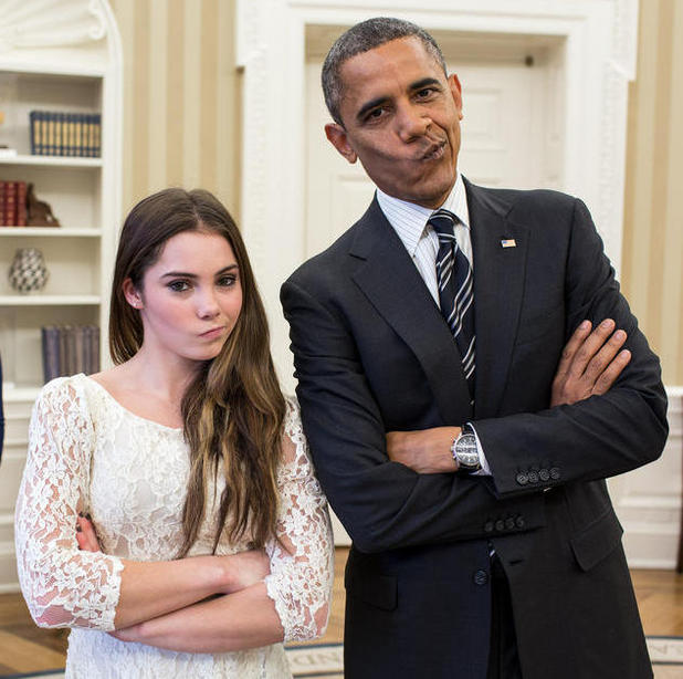 President Barack Obama meets gymnast McKayla Maroney to do her 'not impressed' face