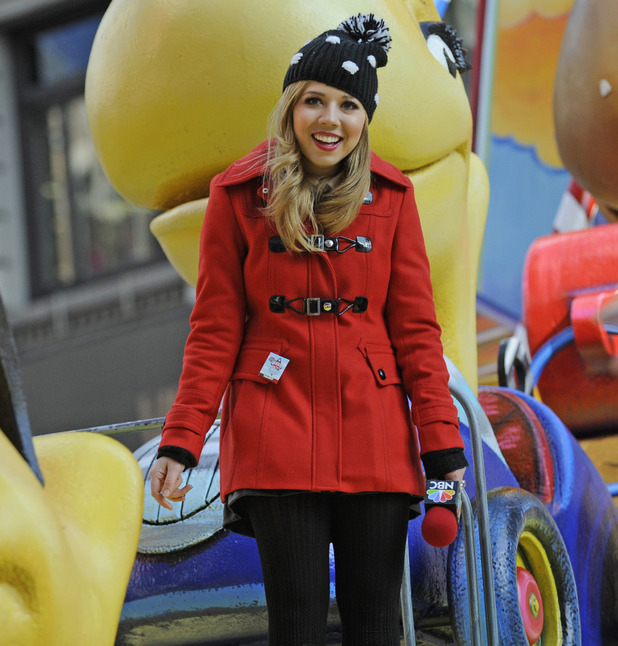 Jennette McCurdy rides a float in the Macy's Thanksgiving Day Parade in New York, Thursday, Nov. 22, 2012.