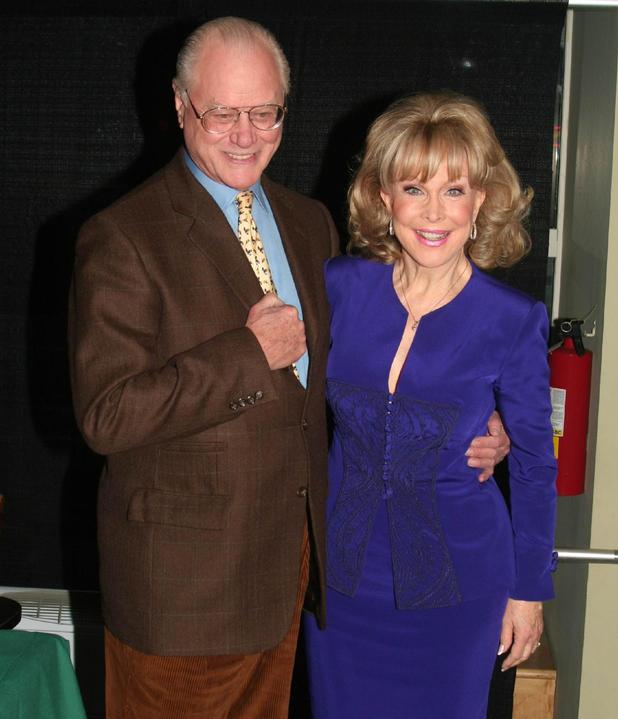 Larry Hagman and Barbara Eden reunite for the I Dream of Jeanie DVD launch in 2006.