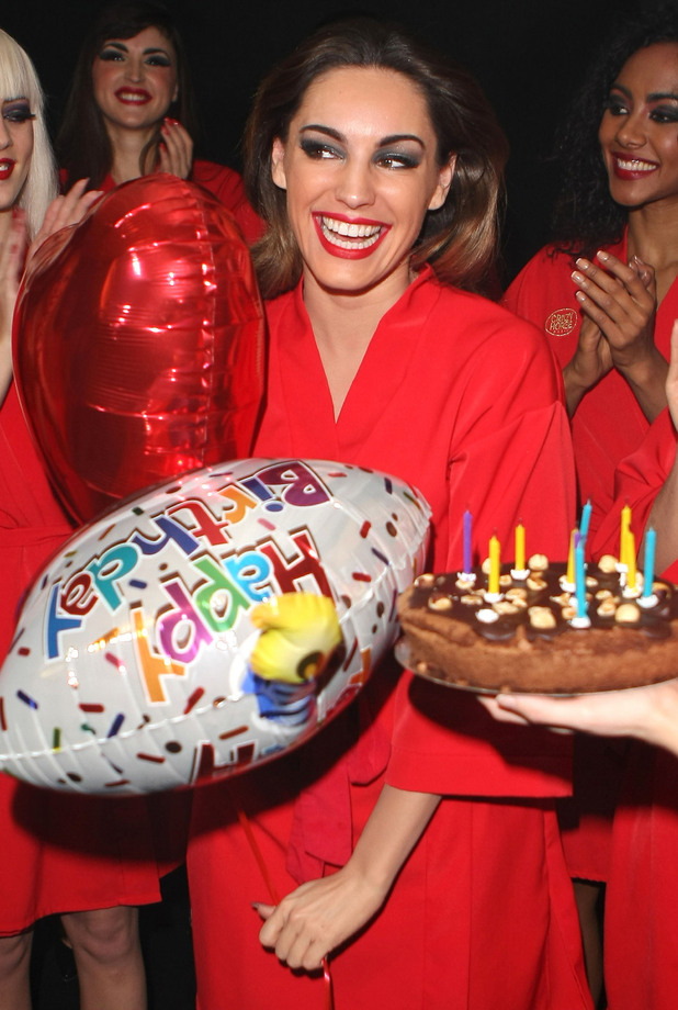 Kelly Brook at her surprise 33rd birthday backstage at her final show with Crazy Horse at The Forever Crazy Spiegel Tent London, England