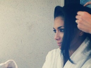 Nicole Scherzinger having her hair and make up done on the set for her new music video, Boomerang.