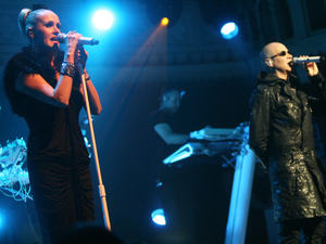 Susan Ann Sulley, Phil Oakey and Joanne Catherall of The Human League performing live at the Paradiso