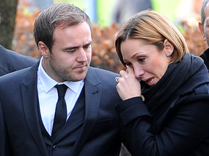 Lucy-Jo Hudson and Alan Halsall arrive at Albion United Reformed church, in Ashton Under Lyne, for the funeral of Coronation Street star Bill Tarmey