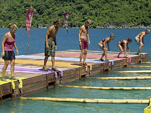 """Shot into Smithereens"" - Lisa Whelchel, Malcolm Freberg, Carter Williams, Abi-Maria Gomes, Denise Stapley and Michael Skupin during the twelfth episode of Survivor: Philippines"
