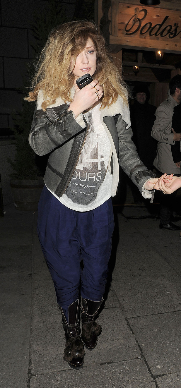Nicola Roberts leaving Bodos Schloss restaurant