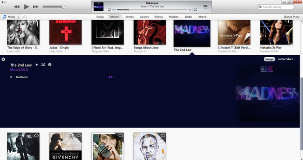 iTunes 11 - music playing (Muse)