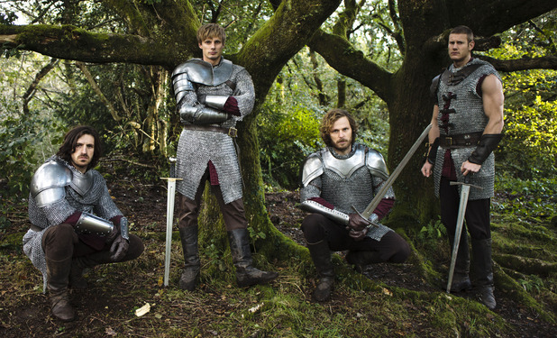 Merlin S05E13 (Final Episode): Gwaine (EOIN MACKEN), King Arthur Pendragon (Bradley James), Sir Leon (RUPERT YOUNG), Percival (TOM HOPPER), Merlin (COLIN MORGAN)