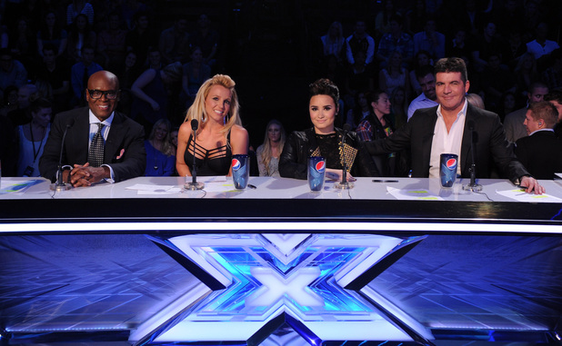 Judges LA Reid, Britney Spears, Demi Lovato and Simon Cowell