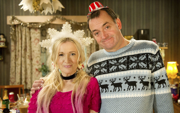 The Royle Family 2012 Christmas Special: Denise Best (CAROLINE AHERNE), Dave Best (CRAIG CASH) 