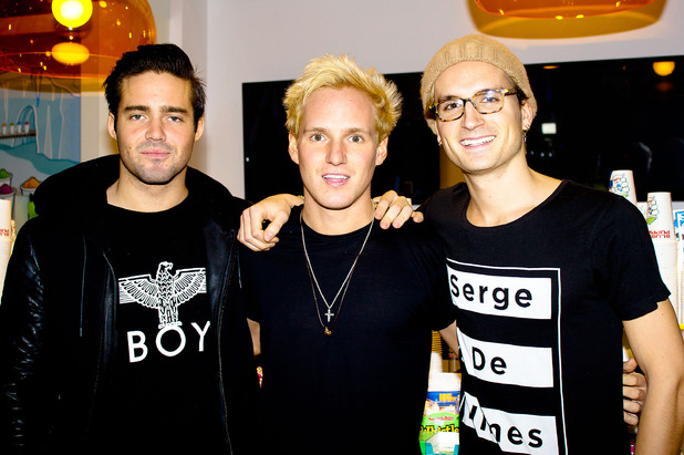 Spencer Matthews, Jamie Laing, Oliver Proudlock 'Made In Chelsea' stars at Kingdom Of Sweets in The Lakeside Shopping Centre Essex, England
