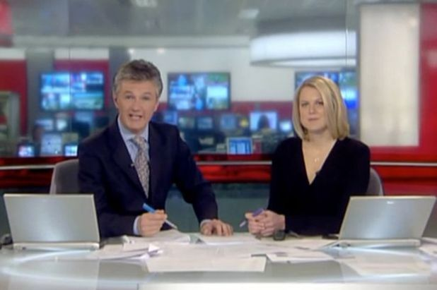 BBC News presenters Tim Willcox, Sophie Long