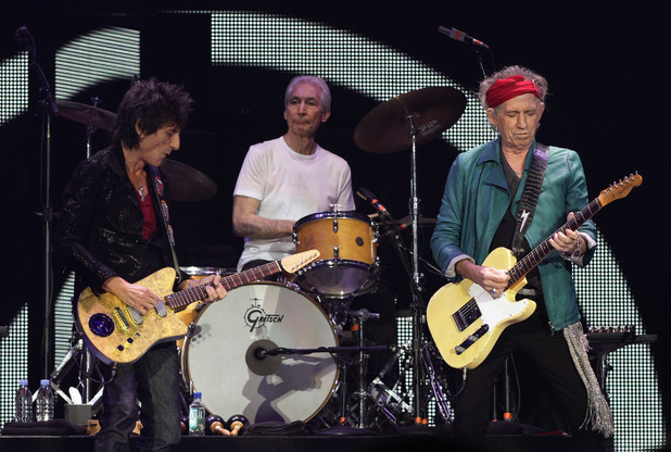 Ronnie Wood, Charlie Watts and Keith Richards of The Rolling Stones performing at the O2 Arena in London, as part of their 50th anniversary series of concerts