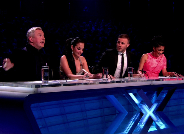 Gary Barlow, Nicole Scherzinger, Tulisa Contostavlos and Louis Walsh are seen on 'X Factor' Shown on ITV1 HDEngland - 26.11.12 Supplied by WENN.comWENN does not claim any ownership including but not limited to Copyright or License in the attached material. Any downloading fees charged by WENN are for WENN's services only, and do not, nor are they intended to, convey to the user any ownership of Copyright or License in the material. By publishing this material you expressly agree to indemnify and to hold WENN and its directors, shareholders and employees harmless from any loss, claims, damages, demands, expenses (including legal fees), or any causes of action or  allegation against WENN arising out of or connected in any way with publication of the material.