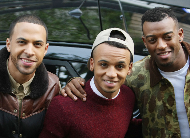 J.B. aka Jonathan Gill, Marvin Humes, Aston Merrygold and Oritse Williams of JLS outside the ITV studios London, England - 24.10.12 Mandatory Credit: WENN.com