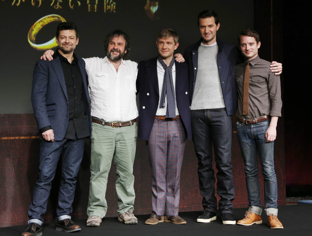 Andy Serkis, Peter Jackson, Martin Freeman, Richard Armitage and Elijah Wood arrive for The Hobbit press conference in Japan.