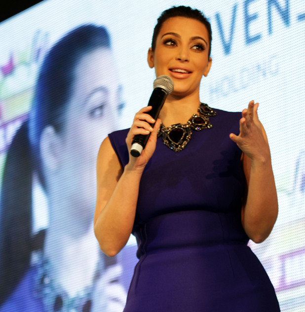 TV star Kim Kardashian speaks to fans in Riffa, Bahrain