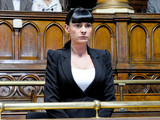 6425: Chas makes her way to the dock as the trial begins