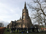 Media gather outside Albion United Reformed church, in Ashton Under Lyne for the funeral of Coronation Street star Bill Tarmey