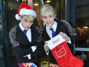 Jedward get in the Christmas spirit at Today FM studios, Dublin, Ireland - 05.12.12.  *** Local Caption *** JedwardFeaturing: Jedward, John Grimes, Edward Grimes Where: Dublin, Ireland When: 05 Dec 2012 Credit: WENN.com