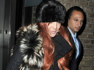 Lindsay Lohan seen exiting her hotel in Manhattan. Her sister Ali Lohan was also spotted out and about. New York City, USA- 05.11.12 Credit: (Mandatory): TNYF\ WENN.com