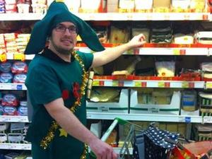Craig Fiddes dresses as a Christmas tree for the whole of December to raise money for charity