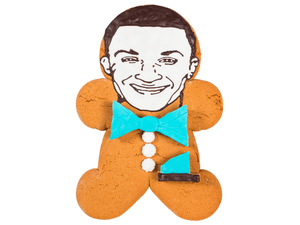 Jahmene Douglas as a Greggs Gingerbread man