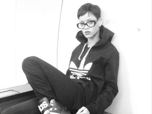 Rihanna at airport in all Adidas outfit