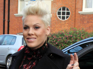Pink arriving at BBC Radio in Maide Vale Studios, London.