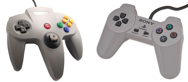 N64 controller and Playstation controller