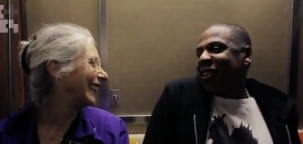 Jay-Z and Ellen Grossman on subway in 'Life + Times'.