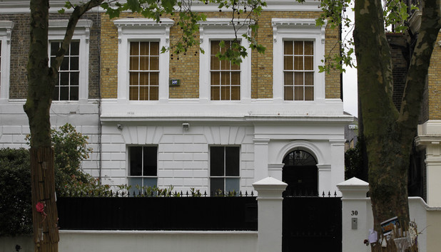The house owned by the late British singer Amy Winehouse is seen in north London