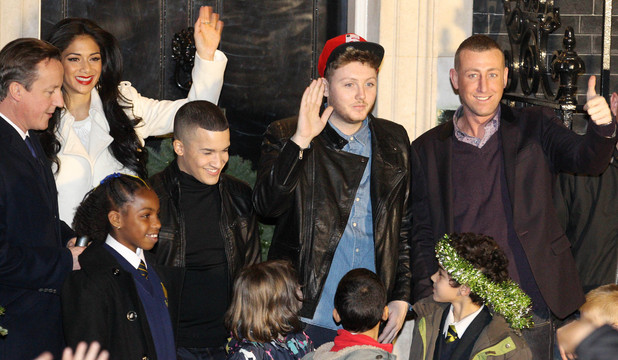 Nicole Scherzinger and the X Factor finalists at Downing Street