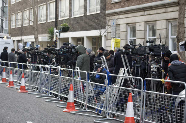 Members of the media gather in front of the King Edward VII Hospital in Central London where The Duchess of Cambridge has been undergone a pre-natal check-up following the new of her pregnancy