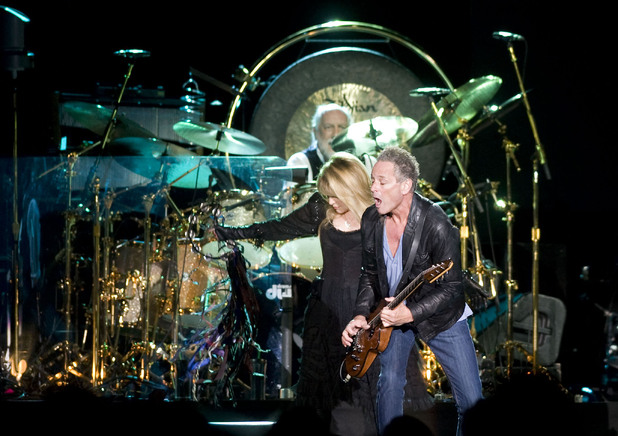 Fleetwood Mac&#39;s Stevie Nicks, Lindsey Buckingham and Mick Fleetwood on the &#39;Unleashed&#39; tour, Wembley Arena - October 2009