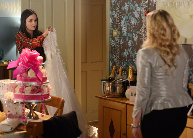 A drunk and angry Lauren threatens to rip up Tanya's wedding dress.