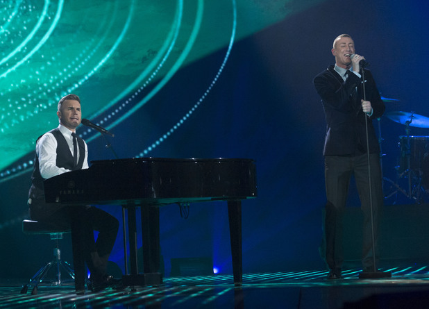 The X Factor Final: Christopher Maloney and Gary Barlow.