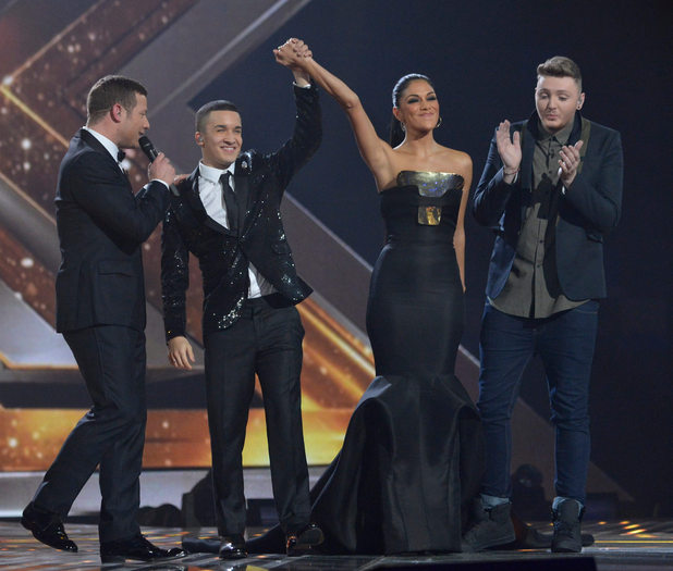 The X Factor Final: Nicole celebrates Jahmene.