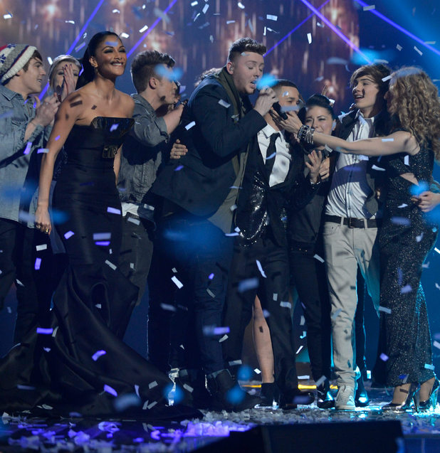 The X Factor Final: James celebrates.