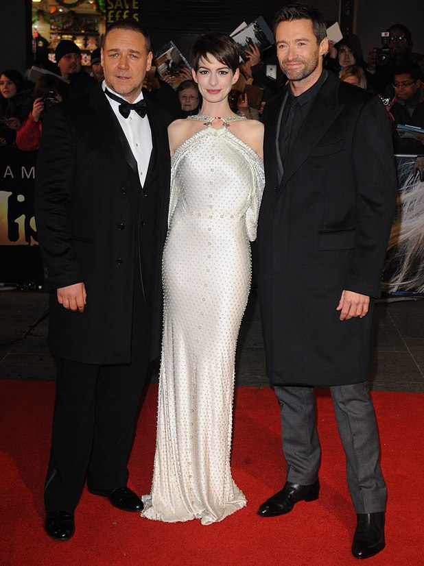 Russell Crowe, Anne Hathaway and Hugh Jackman