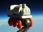 Dad sends son's toy train into space with a camera attached to it.