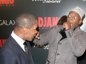 The Premiere of 'Django Unchained' held at the Ziegfeld Theatre - Arrivals Featuring: Jamie Foxx, Samuel L. Jackson Where: New York City, NY, United States When: 11 Dec 2012