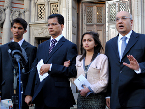 Keith Vaz MP (right) talks to the media after leaving Westminster Cathedral in central London with Benedict Barboza his daughter Lisha, 14, and son Junal, 16, after a mass for Jacintha Saldanha.