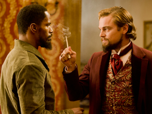 Jamie Foxx as Django and Leonardo DiCaprio as Calvin Candie in Quentin Tarantino's Django Unchained