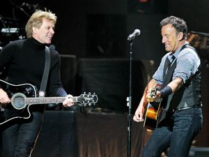 12-12-12 The Concert for Sandy Relief at Madison Square Garden, New York: Jon Bon Jovi and Bruce Springsteen