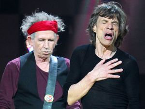 12-12-12 The Concert for Sandy Relief at Madison Square Garden, New York: Keith Richards and Mick Jagger of The Rolling Stones