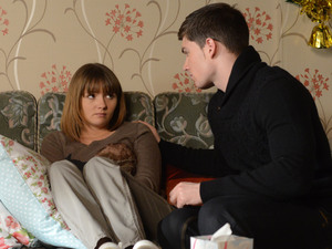 Joey returns to Albert Square and attempts to comfort his grieving sister.