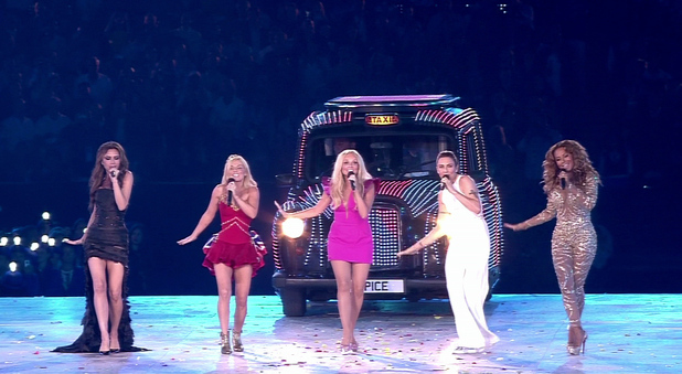 The Spice Girls  perform at the ' Olympic Closing Ceremony ' Shown on BBC1 HDEngland - 12.08.12 Supplied by WENN.comWENN does not claim any ownership including but not limited to Copyright or License in the attached material. Any downloading fees charged by WENN are for WENN's services only, and do not, nor are they intended to, convey to the user any ownership of Copyright or License in the material. By publishing this material you expressly agree to indemnify and to hold WENN and its directors, shareholders and employees harmless from any loss, claims, damages, demands, expenses (including legal fees), or any causes of action or  allegation against WENN arising out of or connected in any way with publication of the material.