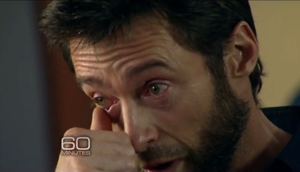 Hugh Jackman gets emotional while on 60 Minutes