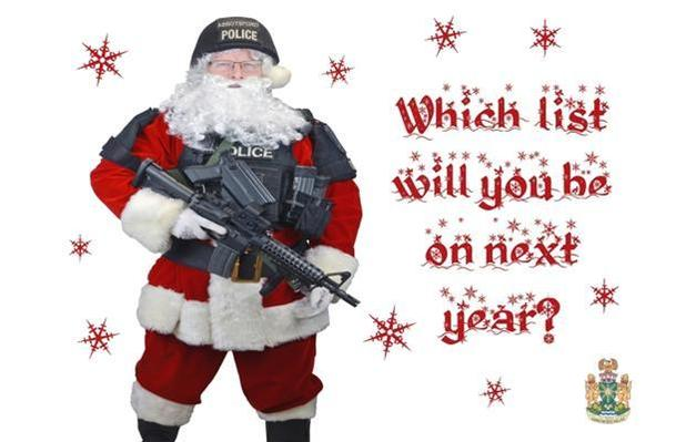 Police send gangsters Christmas cards featuring Santa with guns